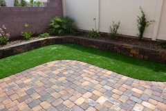 Paver yard with synthetic turf