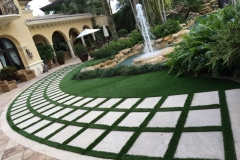 arched walkway with synthetic turf